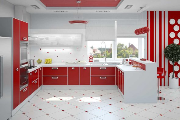 Кухня в красном и белом цвете