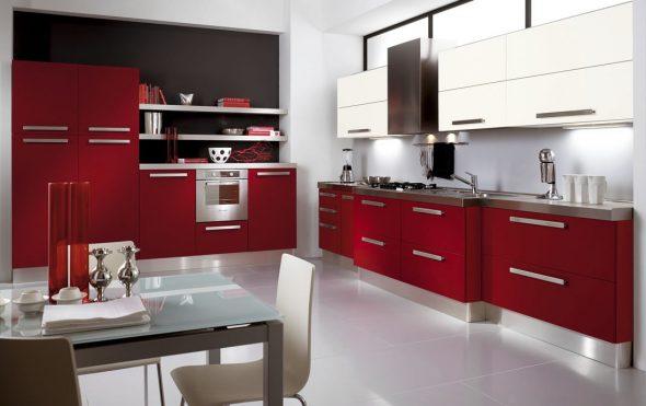 Кухня в красном и чёрном цвете