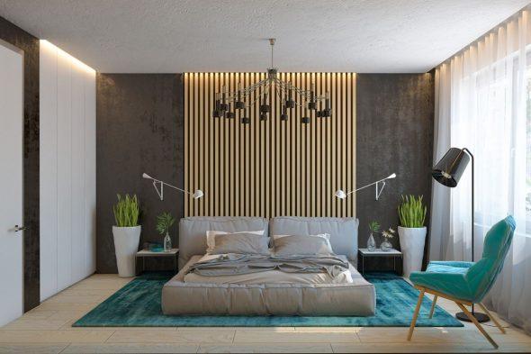 Деревянные рейки в изголовье кровати