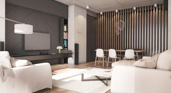 Деревянные рейки в интерьере столовой-гостиной