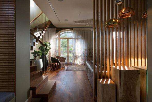 Деревянные рейки для зонирования помещения