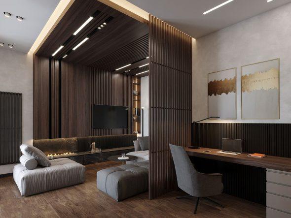 Дизайнерские конструкции из деревянных реек