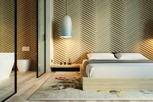 Интересное декорирование деревянными рейками