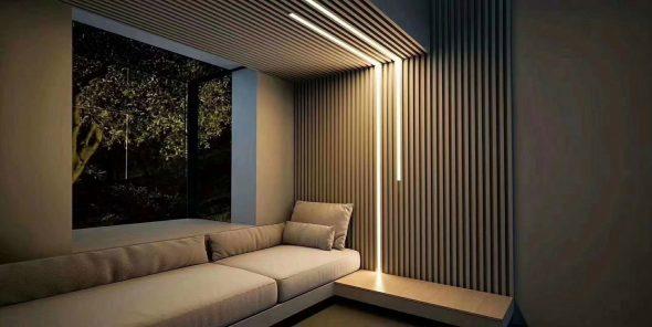 Деревянные рейки с оригинальной подсветкой в интерьере