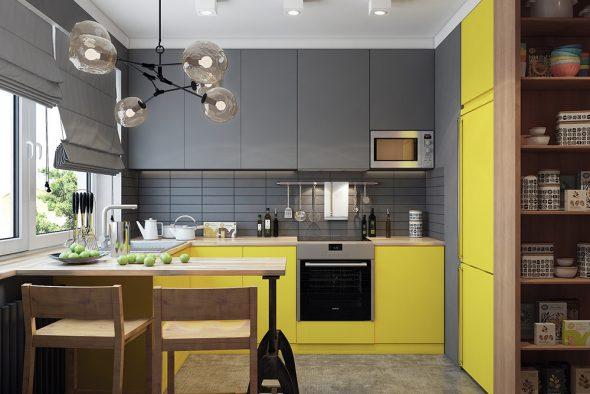 Кухня в сером и жёлтом цвете
