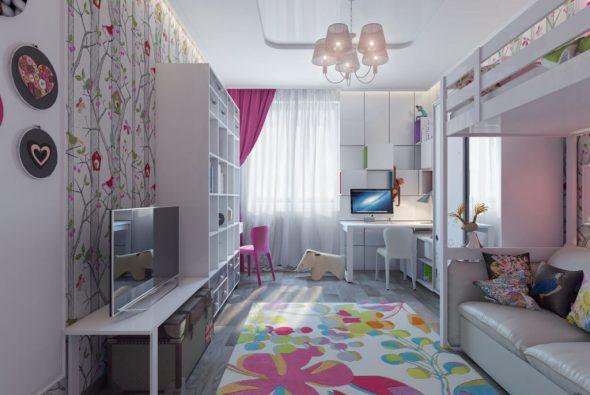 Интерьер детской «ИКЕА» в розовых тонах