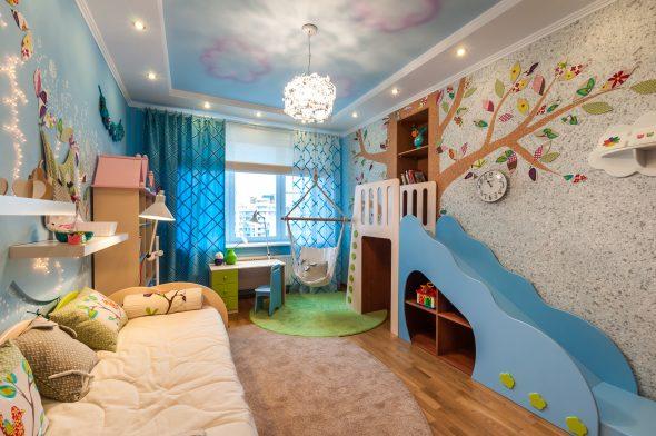 Дизайн стен в детской комнате