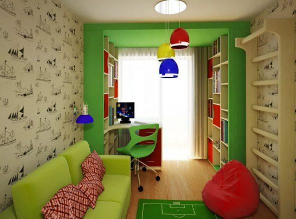 Детская комната в зелёных тонах