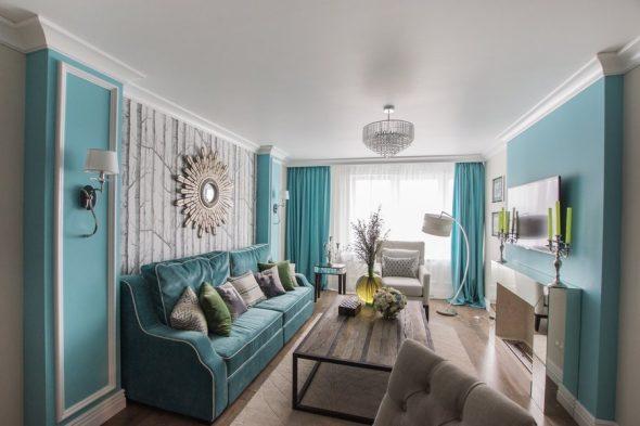 Мебель в маленьком зале в голубых тонах