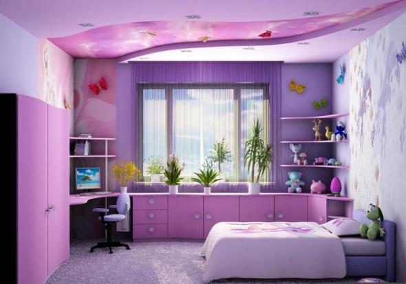 Детская комната в фиолетовых тонах