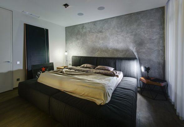Микроцемент в интерьере спальни