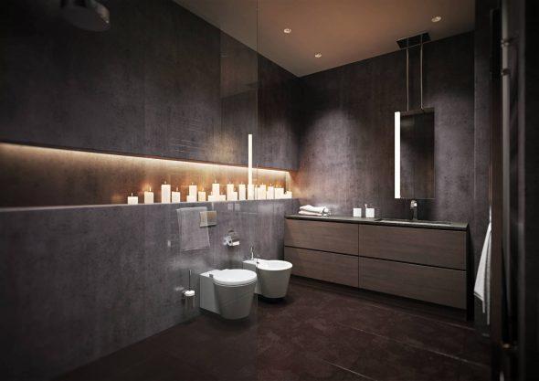 Микроцемент в интерьере ванной комнаты