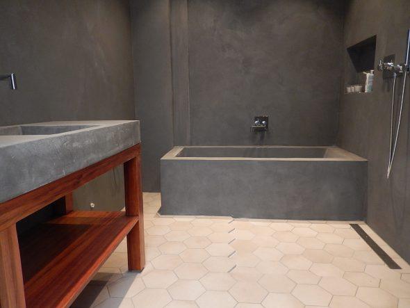 Микроцемент в интерьере ванной