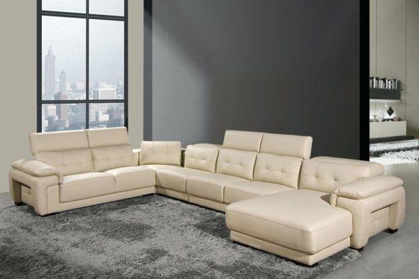 Большой кожаный угловой диван с подголовниками