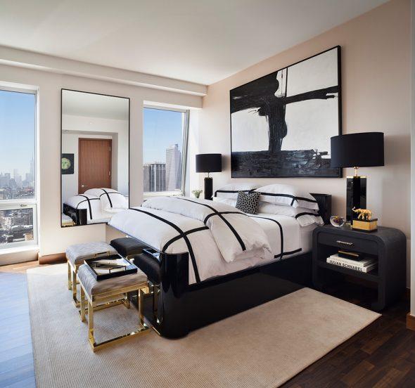 Чёрно-белая спальня