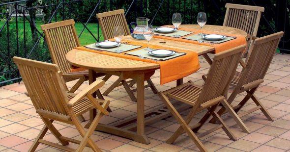 Садовая мебель WOODY: стол и стулья из миранти