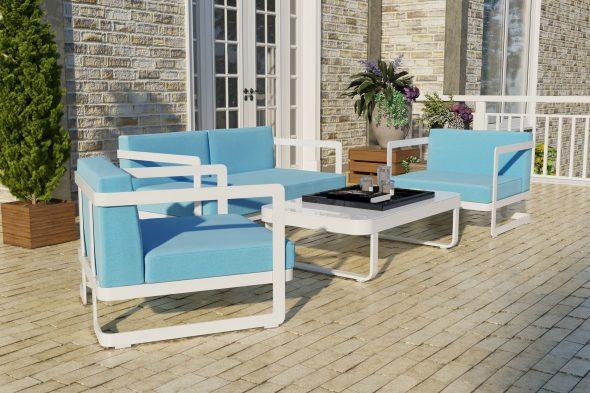 Садовая мебель из алюминия VILLINO white & blue