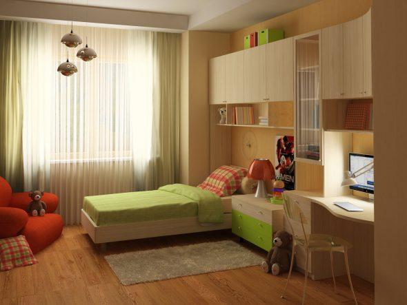 Интерьер комнаты в светлых пастельных тонах