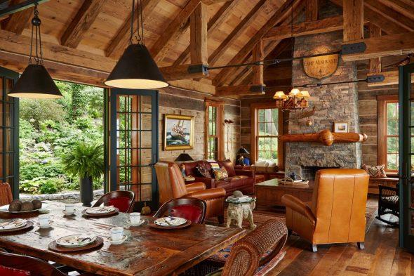 Гостиная в стиле Кантри в загородном доме