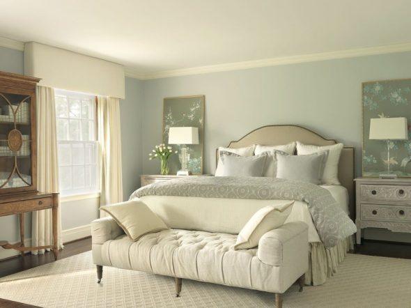 Оливковое оформление спальни