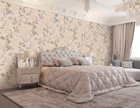 Спальня в пастельных розовых тонах