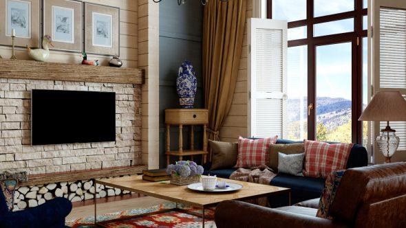 Гостиная в стиле кантри в современном доме