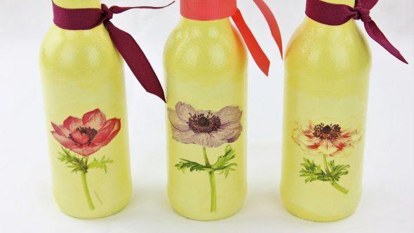 Декорированные бутылки с лентами