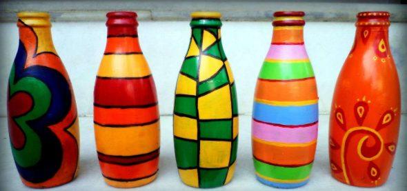 Окрашенные бутылки