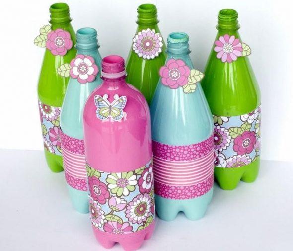 Бутылки с цветочным декором