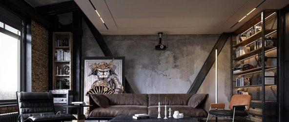 Индустриальный стиль спальни гостиной