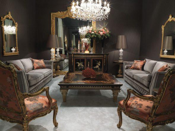 Винтажная мебель в гостиной классического стиля
