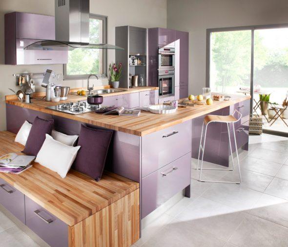 Лавандовый цвет в интерьере кухни