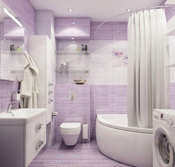 Лавандовый цвет в интерьере ванной комнаты