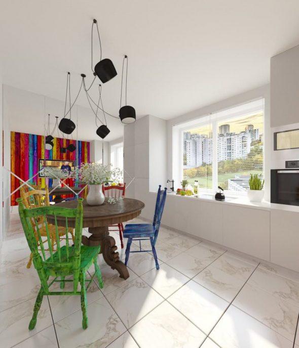 Разноцветная мебель в стиле эклектика