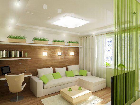 Интерьер комнаты в экостиле
