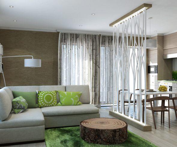 Интерьер гостиной в экостиле