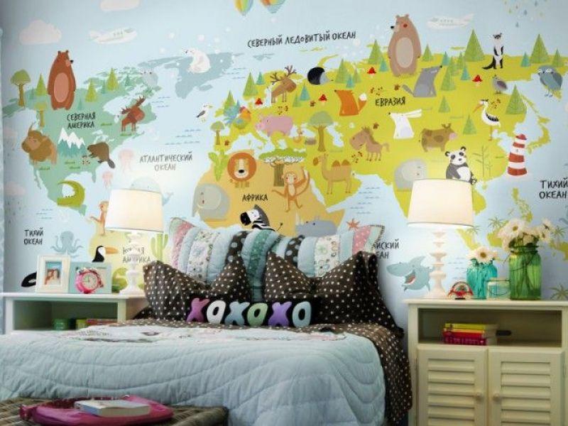 14 вариантов интерьера детской с картой мира