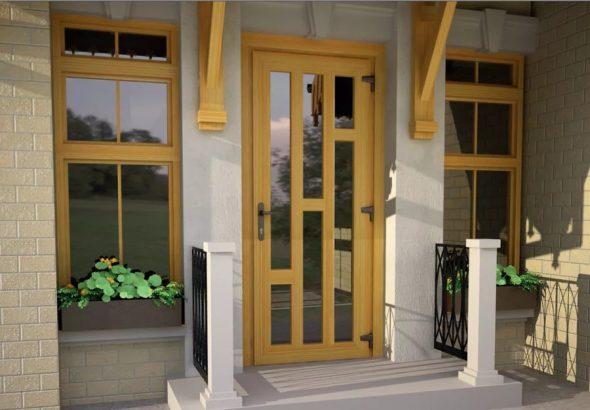 Входная пластиковая (ПВХ) дверь для загородного дома