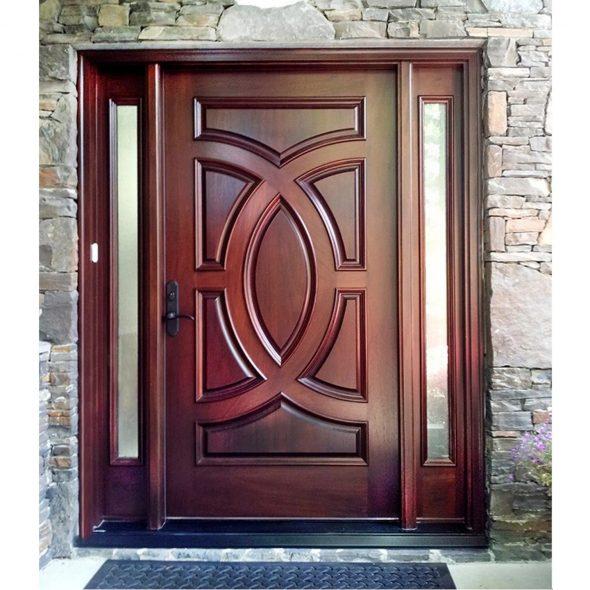 Входная внешняя деревянная дверь Mahogany