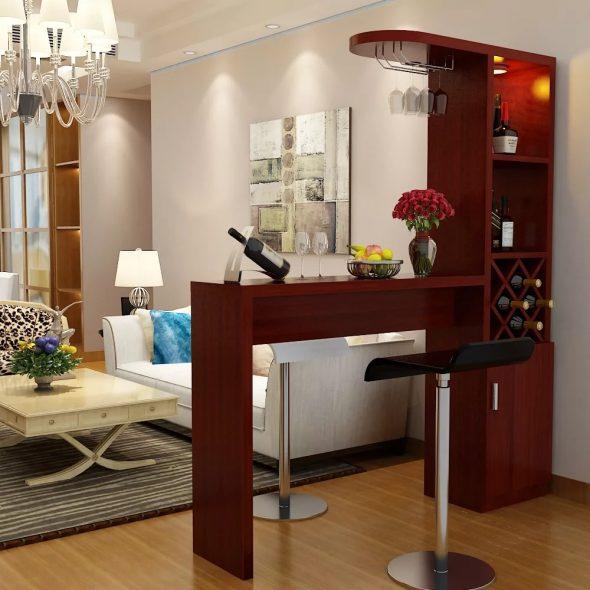 Барная стойка в интерьере гостиной