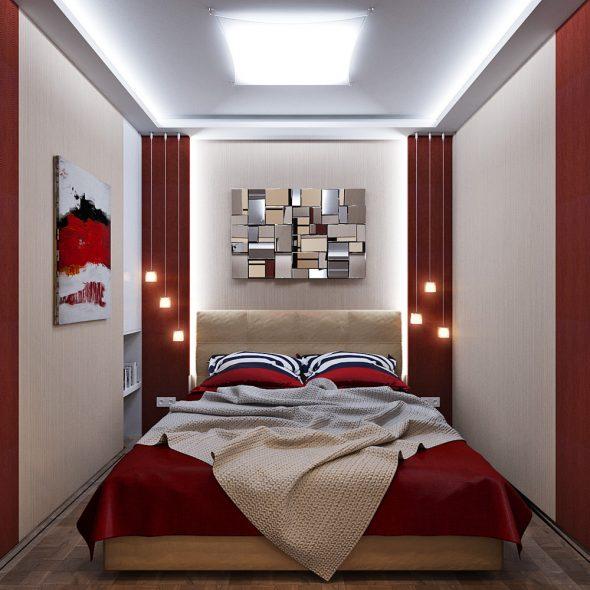 Как удобно расставить мебель в узкой спальне