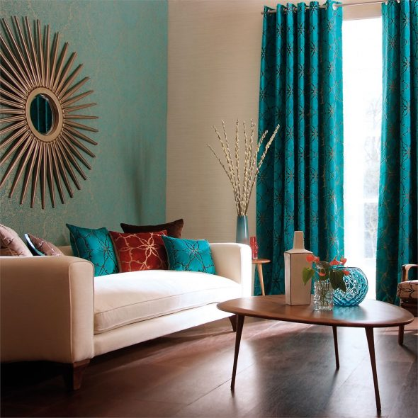 Бирюзовый цвет в интерьере гостиной