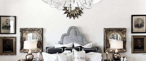 Спальня с люстрой