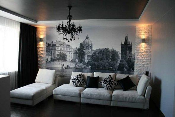 Фотообои за диваном в гостиной