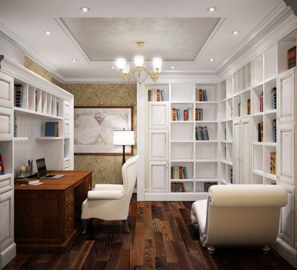 Сочетание белого цвета и дерева в кабинете